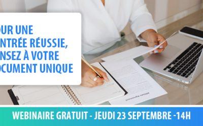 Le 23/09 : WEBINAIRE : Pour une rentrée réussie, pensez à votre document unique